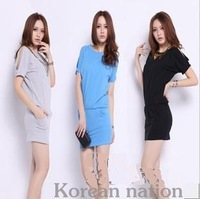 Free Shipping Summer Women's Casual One-piece Dress Loose Stretch Cotton Skirt Plus Size S-XXXL Black/Gray/Blue MG-011