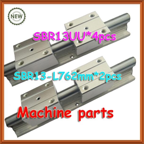"13mm 30"" inch 2pcs guide shaft support rail SBR13 -L 762mm + 4pcs SBR13UU linear motion ball bearing block slide unit CNC DIY(China (Mainland))"