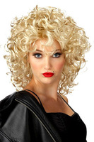 Cosplay Night Club Funky Lite Curly Short Blond Wig party wig Fiber Synthetic Hair party Wigs Halloween Carnival Christmas Day