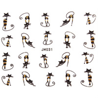 NEW 12 Designs Lovely Cat Nail Art 3D Sticker in Black Gold 100 pcs/lot Free Shipping