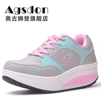 swing wedges slimming outdoor running Sneakers sports casual platform women's shoes grid hike leisure travel climb flats XZ009