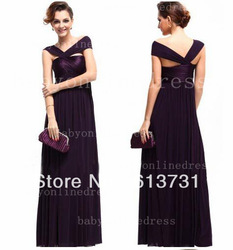 Free Shipping Fashion Cheap Purple Graceful Lady Long Formal Evening Dresses off the shoulder(China (Mainland))