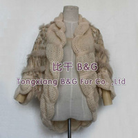BGJK007 Free Shipping Genuine Knitted Rabbit Fur Jacket With Hollow Simple Short Coat/Overcoat OEM Wholesale/Retail