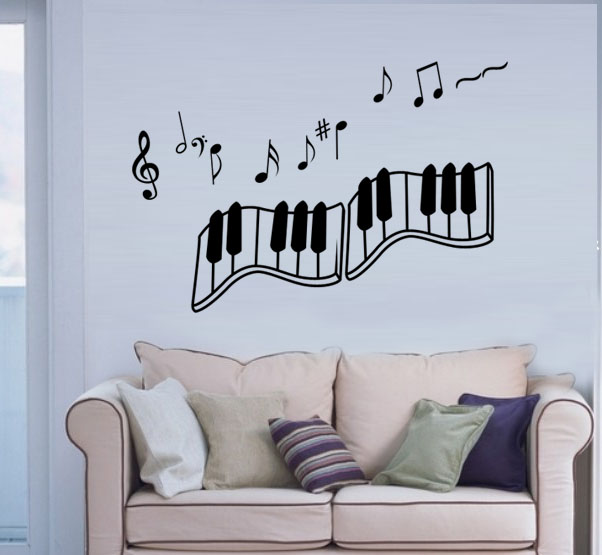 Romantic note of the living room tv wall sofa wall stickers child music wall stickers 1090(China (Mainland))