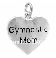 free ship 15pcs a lot power engraved gymnastic mom antique silver charm jewelry