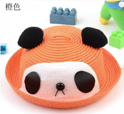 orange high-grade hand-made knitting baby panda hat cute cartoon animal hats for children sun hat free shipping R5069-5(China (Mainland))