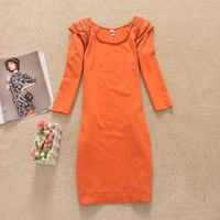 Spring and autumn female half sleeve shoulder pads zipper fashion slim hip 1189 one-piece dress