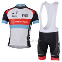 Free shipping!2013 RadioShack short sleeve cycling jersey and bib shorts / bike wear / Ciclismo jerseys / bicycle clothe