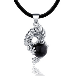 E 925 pure silver black agate necklace male pendant Men vintage accessories(China (Mainland))