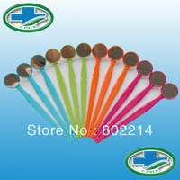 Free Shipping 1pack/12pcs Lit-Pack Dental Autoclave Dental Mirror Mouth Mirror Sterilized Color