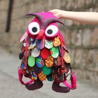 Handmade patchwork owl backpack bag casual cloth national trend travel backpack