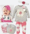 2013 Newest Design Cute Girls Spring Clothing Fashion Baby Sweet Flower T-shirt + Pant + Hair band + 2 bibs Set Kids Soft Wear