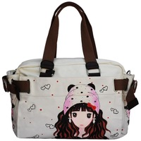 free shipping Hand painting canvas bag princess personalized print school bags white collar women's shoulder handbag