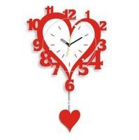 Factory direct art wall clock red wooden rocking wall clock creative watch