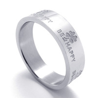 "074346 Fashion 316L Stainless Steel Jewelry Men's Titanium 316L Stainless Steel Four Leaf Clover Ring ""Be Happy"""