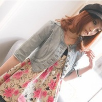 2013 Korean spring new Slim fifth sleeve Spring denim jacket S,M,L #1968