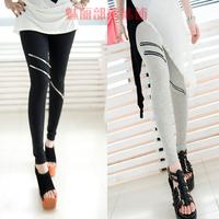 Spring and summer female knee zipper legging ankle length trousers lengthen legging plus size