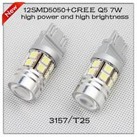 Free shipping 2013 3157  T25 12SMD5050+ CREE Q5 5w  LED car light for  DIY car lights  led brake  light  high brightness  retail