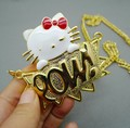 18k gold plating kitty pow necklace