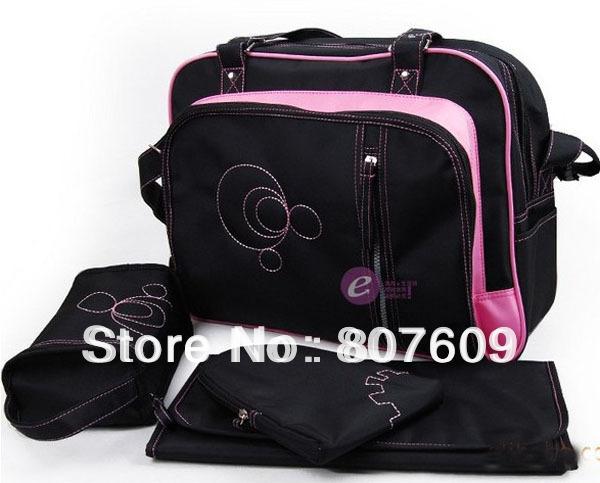 Baby Kingdom Diaper Nappy Bag Mummy Changing Shoulder Handbag Black/Pink ( 4pcs/set )(China (Mainland))