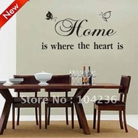 Discount:A Couple Butterflies Home Is Where The Heart Is/English Wall Stickers:65*35cm/25''*12''Removable ZooYoo Decal