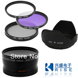58mm Essentia kit 0.45x Wide Angle +CPL/UV/FLD + HOOD+LENS/filter case for DSLR free shipping + free tracking number(China (Mainland))