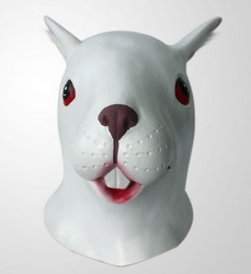 Creepy Halloween Cosplay Theater Prop Easter White Rabbit Head Mask Latex Adult One Size Costume mask MJ-0005 Free Shipping(China (Mainland))