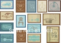 T-018 vintage stamps fabric heat transfer fabric embellishment 21 26cm light color cloth iron-on