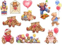 T-108 vintage american bear  fabric decoration heat transfer 21 29cm light color cloth iron-on