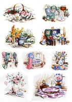T-144 watercolor rustic patchwork hot light color cloth heat press handmade fabric diy iron-on