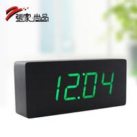 Wood clock function alarm clock led clock gift fresh green