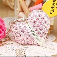 Heart Shaped Crystal Necklace USB 2.0 Flash Memory Pen Drive Sticks Disk 4GB 8GB 16GB 32GB 64GB Free Shipping