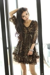 One-piece dress summer chiffon skirt leopard print high waist three quarter sleeve dress 2013v yellow formal spring Sky Blue(China (Mainland))