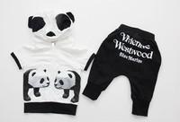 Free Shipping,5 sets/lot wholesale boy suit Boy's panda clothing set (tops+pants)2pcs suit Children's sports suit