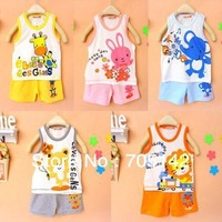 Free shipping! Cute character animal print cotton clothing suits for baby, 0-3 years old girl&boy baby vests/T-shirts&shorts