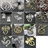 (27136)Fashion Jewelry Findings,Accessories,Vintage charm,pendant,Alloy Antique Bronze Dragon Randomly mixed total:20PCS
