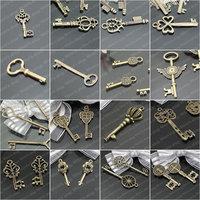 (27135)Fashion Jewelry Findings,Accessories,Vintage charm,pendant,Alloy Antique Bronze KEY Randomly mixed total:100PCS