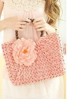 Straw flower beads female portable beach bag innumeracy rattan  woven traw rattan handbag free shipping