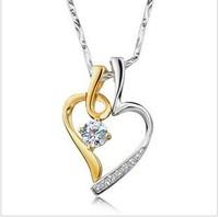 GS brand  free shipping new lover`s heart  1 pcs boy 1 pcs girl 925 silver + 18k gold platinum plated + zircon crystal pendants
