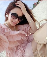 Free Shipping! 2013 new sunglasses fashion trendsetter frame star all-match gradient UV and retro pearl sunglass