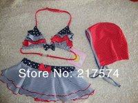 2013 Kids swimming Dress free shipping swimming bathers swiming wear 3 piece swimwear swimsuits swimmers  for 2013 Summer