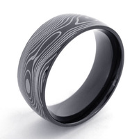 074974 Fashion Men's Titanium 316L Stainless Steel Black Ripple Ring Men's Jewelry