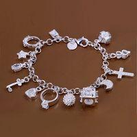 Free shipping ,silver plated 925 Bracelet Fashion Jewelry Bracelet  hanging 13 Pendant Bracelet H144