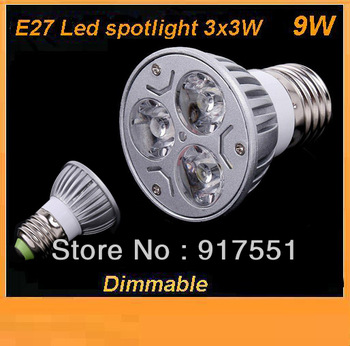 shipping free 10pcs/lot MR16/GU10/E27 3x3W 9W Dimmable LED Lights Downlight Led Lamp lighting Bulb Warm / pure White Spotlight