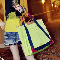 2012 shoulder bag handbag big bags casual color block women's candy color handbag motorcycle shopping bag
