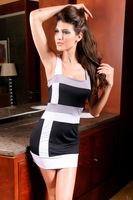 Wholesale Black And White Stripe Sleeveless Women's Slim Hip One-Piece Dress Free Shipping