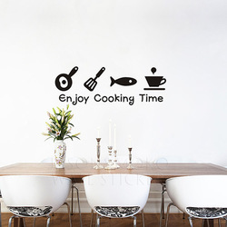 FREE SHIPPING enjoy cooking time wall quote decor Vinyl kids wall sticker wall art mural Wall Decal 19*57CM Free shipping(China (Mainland))