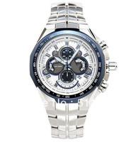 New EF-554D-7AV Mens Chronograph Sport Watch EF-554D EF 554D White Dial Wristwatch EF-554D-7AVDF