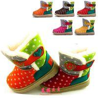 B-B Hot-selling large cotton dot pattern children shoes cotton-padded shoes children boots warm shoes slip-resistant velcro snow
