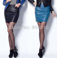 Women's Sexy PU Leather 3 Buttons Pleated Side Zipper Short Skirt Mini Dress S-XXXL